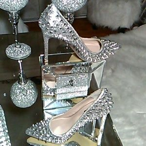 Silver Spike And Glitter Heels